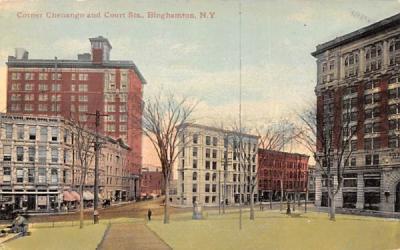 Corner Chenango & Court Streets Binghamton, New York Postcard