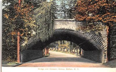 Bridge over Delaware Avenue Buffalo, New York Postcard