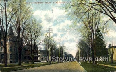Tompkins Street - Cortland, New York NY Postcard