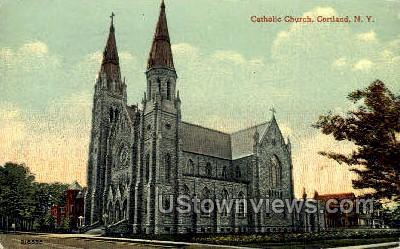 Catholic Church - Cortland, New York NY Postcard