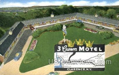 3 Crown Motel - Clarence, New York NY Postcard