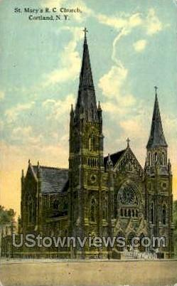 St Mary's R.C. Church - Cortland, New York NY Postcard