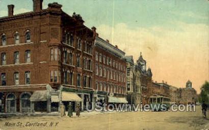 Main Street - Cortland, New York NY Postcard