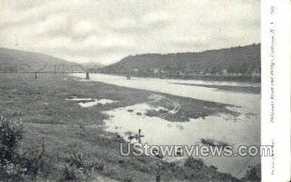 Delaware River & Bridge - Callicoon, New York NY Postcard