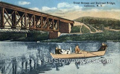 Trout Stream & Railroad Bridge - Callicoon, New York NY Postcard