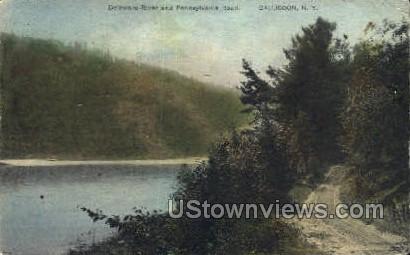 Delaware River & Penn Road - Callicoon, New York NY Postcard