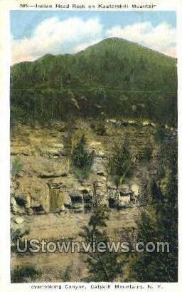 Indian Head Rock - Catskill Mountains, New York NY Postcard