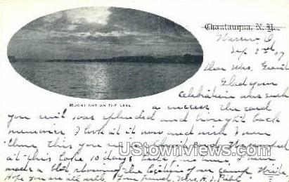 Moonlight on the Lake - Chautauqua, New York NY Postcard