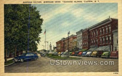 Business Section, Riverside Drive - Clayton, New York NY Postcard