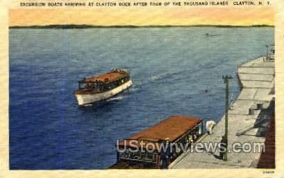 Excursion Boats, Clayton Dock - New York NY Postcard