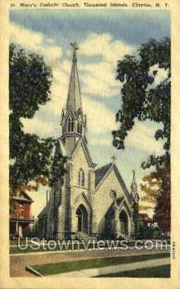 St. Mary's Catholic Church - Clayton, New York NY Postcard