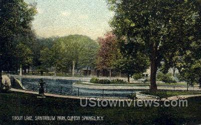 Trout Lake, Sanitarium Park - Clifton Springs, New York NY Postcard