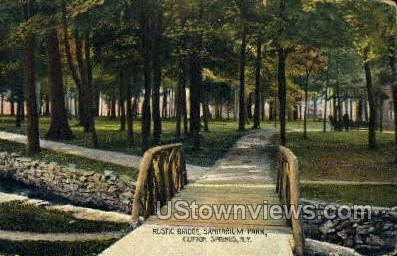 Rustic Bridge, Sanitarium Park - Clifton Springs, New York NY Postcard