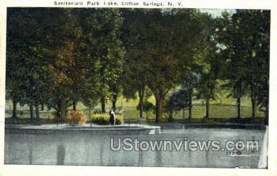 Sanitarium Park Lake - Clifton Springs, New York NY Postcard