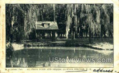 Sulphur Pond and Spring - Clifton Springs, New York NY Postcard