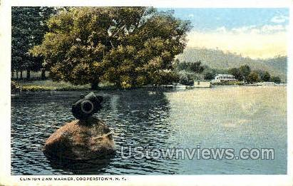 Clinton Dam Marker - Cooperstown, New York NY Postcard