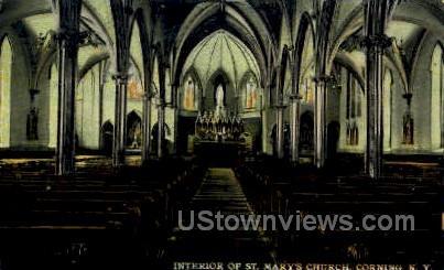 St. Mary's Church - Corning, New York NY Postcard