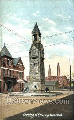 Town Clock - Corning, New York NY Postcard
