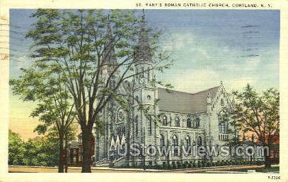 St. Mary's Church - Cortland, New York NY Postcard