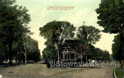 Corner Clinton Ave. - Cortland, New York NY Postcard