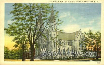 St. Mary's Roman Catholic Church - Cortland, New York NY Postcard