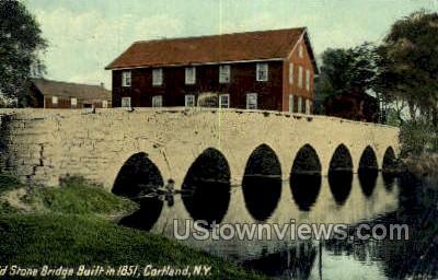Old Stone Bridge - Cortland, New York NY Postcard
