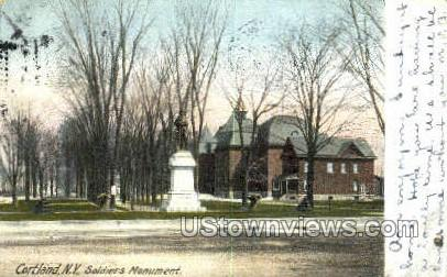 Soldiers Monument - Cortland, New York NY Postcard