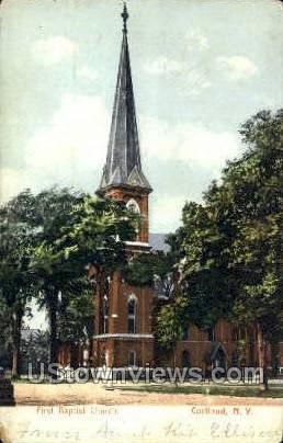 First Baptist Church - Cortland, New York NY Postcard