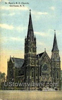 St. Mary's R.C. Church - Cortland, New York NY Postcard