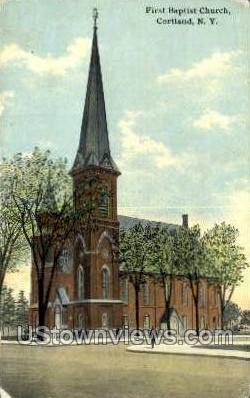 Baptist Church - Cortland, New York NY Postcard