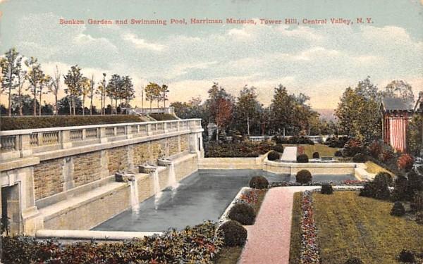 Sunken Garden & Swimming Pool Central Valley, New York Postcard