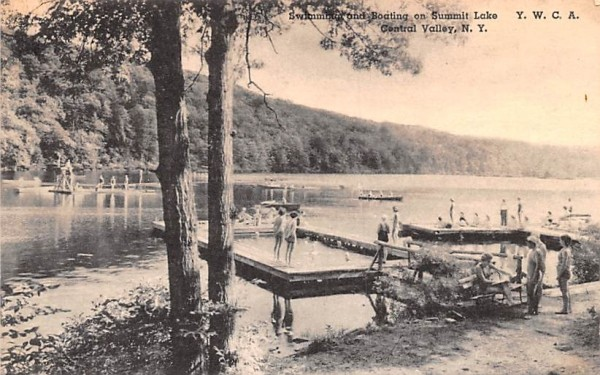 Swimming and Boating Central Valley, New York Postcard
