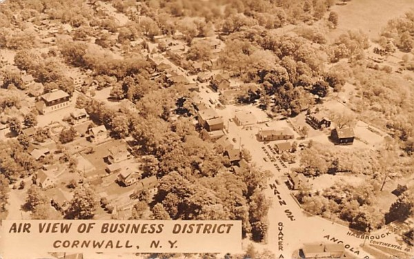 Air View of Business District Cornwall, New York Postcard