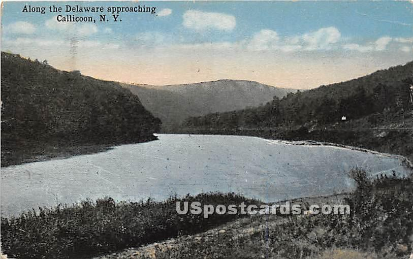 Along the Delaware Approaching - Callicoon, New York NY Postcard