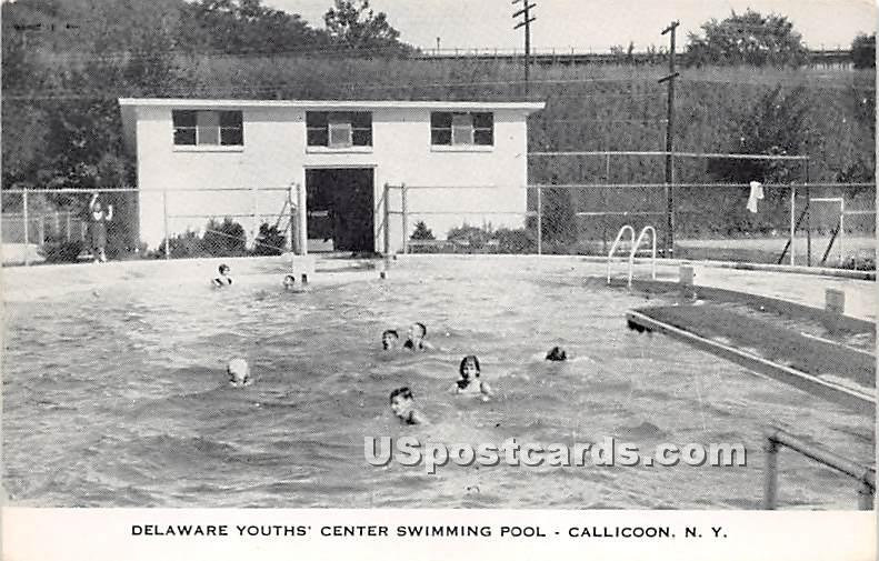 Delaware Youths' Center Swimming Pool - Callicoon, New York NY Postcard