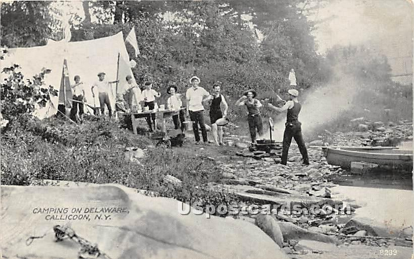 Camping on Delaware - Callicoon, New York NY Postcard