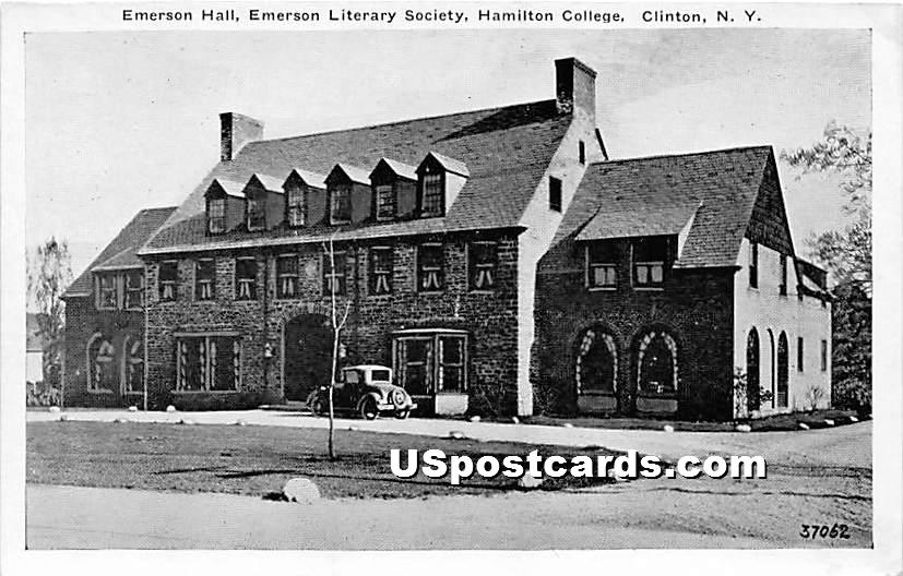 Emerson Hall, Emerson Literary Society, Hamilton College - Clinton, New York NY Postcard