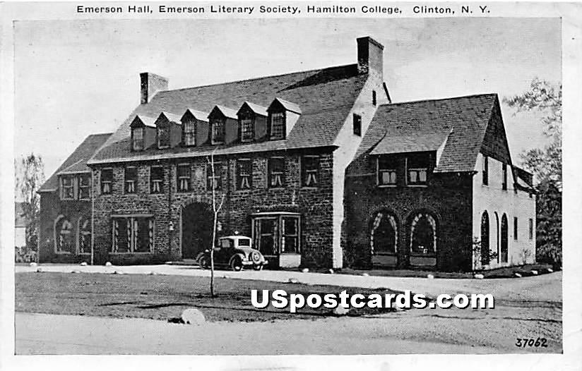 Emerson Hall, Emerson Literary Society, Hamilton College - Clinton, New York NY Postcard