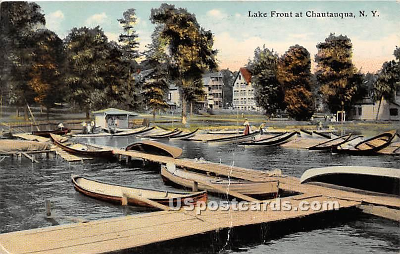 Lake Front - Chautauqua, New York NY Postcard