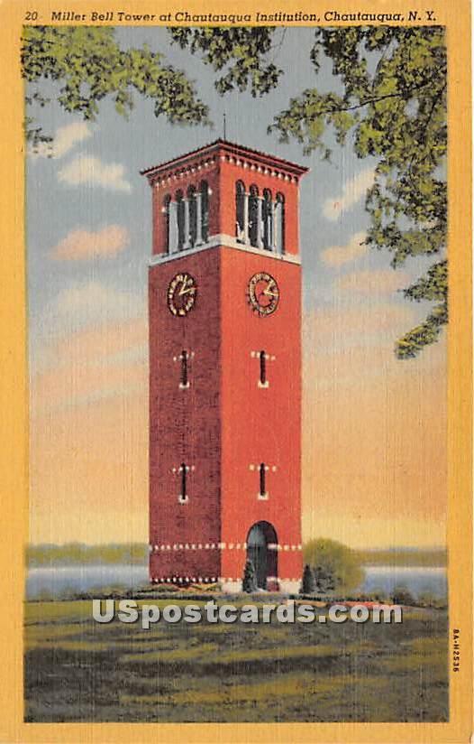 Miller Bell Tower, Chautauqua Institution - New York NY Postcard