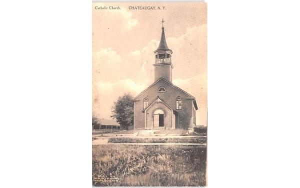 Catholic Church Chateaugay, New York Postcard