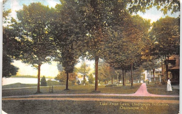 Lake Front Lawn Chautauqua, New York Postcard