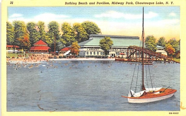 Bathing Beach & Pavilion Chautauqua, New York Postcard