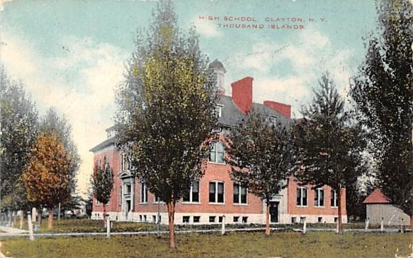 High School Clayton, New York Postcard