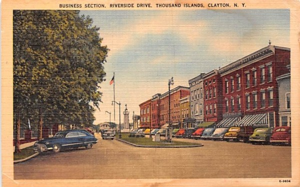 Business Section Clayton, New York Postcard