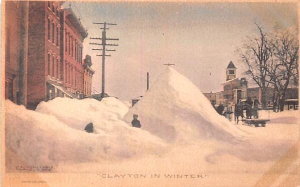 Clayton in Winter New York Postcard