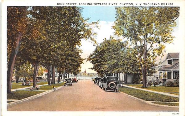 John Street Clayton, New York Postcard