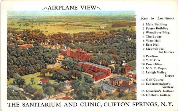 Sanitarium & Clinic Clifton Springs, New York Postcard