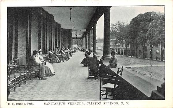 Sanitarium Veranda Clifton Springs, New York Postcard
