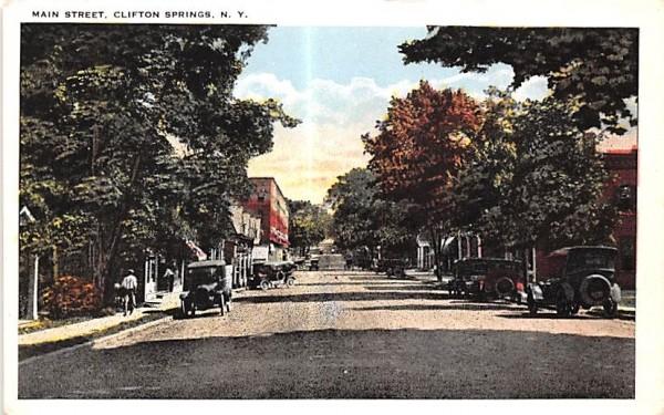 Main Street Clifton Springs, New York Postcard